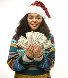 Cute young real african girl in santas red hat Stock Photo