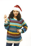 Cute young real african hipster girl in santas red hat isolated Stock Photo