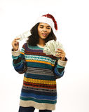 Cute young real african hipster girl in santas red hat Stock Photo