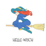 Cute young redheaded witch flying on a broom  on a white background. Royalty Free Stock Image