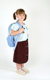 Cute young school girl. Cute school girl with backpack Stock Image
