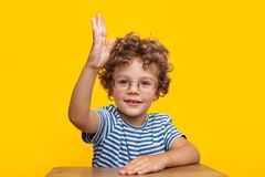 Young boy holding hand up. Cute young smart boy in glasses looking at camera with hand up Royalty Free Stock Photography