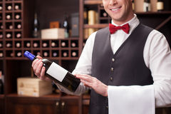 Cute young sommelier is working in winehouse Royalty Free Stock Photography