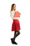 Cute young student girl with folders Royalty Free Stock Photo