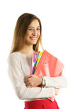 Cute young student girl with folders Stock Photography