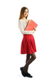 Cute young student girl with folders Stock Images