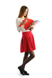 Cute young student girl read folders Royalty Free Stock Image