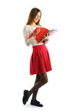 Cute young student girl read folders Royalty Free Stock Photography