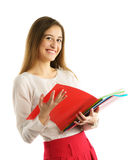 Cute young student girl read folders Stock Images