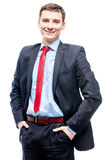 Cute young successful businessman on a white background Stock Photography