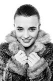 Cute young teen girl in fur jacket Royalty Free Stock Images