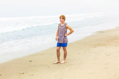 Cute young teenage boy at the beach Stock Photography