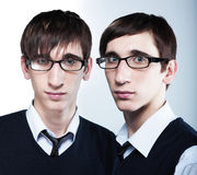 Cute young twins wearing glasses Royalty Free Stock Photography