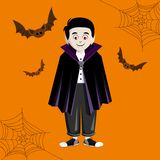 Cute young vampire in costume vector illustration