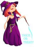 Cute young witch for Halloween cards. Vector clip art illustrati Stock Photos
