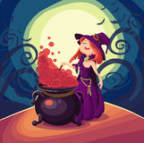 Cute young witch for Halloween cards. Vector clip art illustrati Stock Photo