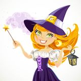 Cute young witch with magic wand and flashlight Royalty Free Stock Photos
