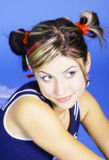 Cute young woman. With tied up twin pigtails royalty free stock image