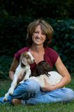 Cute Young Woman With Baby Goats Royalty Free Stock Photos