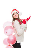 Cute young woman with balloons Royalty Free Stock Images