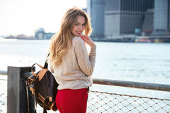Cute young woman with beautiful smile posing in New York City Royalty Free Stock Photography