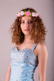 Cute young woman in blue dress Royalty Free Stock Image
