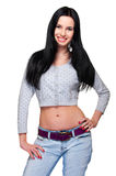 Cute young woman in blue jeans Royalty Free Stock Photography