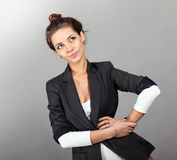 Cute young woman in business Royalty Free Stock Photos