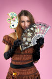 Cute young woman with carnival mask Royalty Free Stock Images