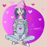 Cute young woman. Cute young cartoon fashion girl vector illustration
