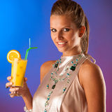 Cute young woman with cocktail Royalty Free Stock Photo