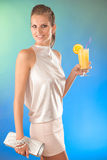 Cute young woman with cocktail Stock Photography