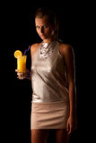 Cute young woman with cocktail Royalty Free Stock Images