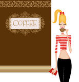 Cute Young Woman at a Coffee House Royalty Free Stock Photos