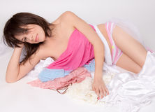 Cute Young Woman Covered in Lingerie Royalty Free Stock Photography
