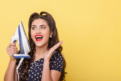 Cute young woman is crazy about modern technology Royalty Free Stock Photography