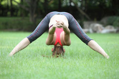 Cute young woman doing physical exercises on lawn Royalty Free Stock Photo