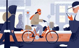 Cute young woman dressed in outerwear riding bicycle in winter. Girl cycling along snowy city street in cold weather. Seasonal outdoor activity. Colorful vector illustration