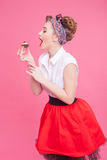 Cute young woman is enjoying sweet pie Stock Photography