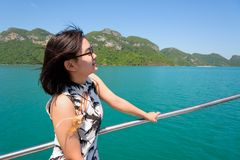 Young woman on the boat Stock Photography