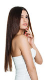 Cute Young Woman Fashion Model Tinking Royalty Free Stock Photo