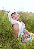 Cute Young Woman on Field Portrait Royalty Free Stock Photo
