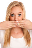 Cute young woman gesturing silence Royalty Free Stock Photo