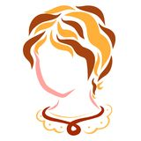 Cute young woman or girl, head, flowing lines royalty free illustration