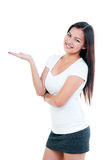 Cute Young Woman With Hand Outstretched Stock Photo
