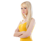 Cute young woman with hands folded Royalty Free Stock Image
