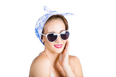 Cute Young Woman in Headscarf and Sunglasses Stock Photos
