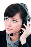 Cute Young Woman With Headset Stock Photography