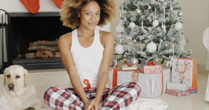 Cute young woman and her dog at Christmas Royalty Free Stock Photos