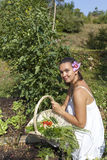 Cute young woman in her garden Royalty Free Stock Photo